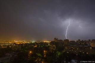 Гроза в Киеве (молнии)